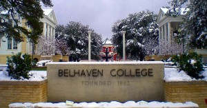 "Picture of the ""Belhaven College Stone Sign"" on the campus of Belhaven University"