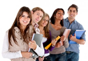 Students in college with online degree
